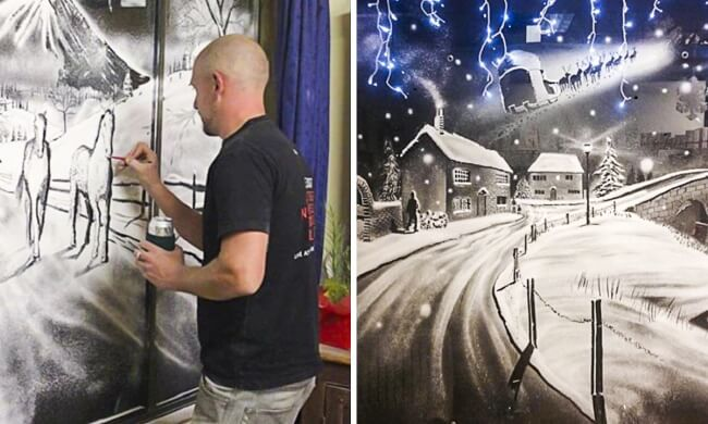 Artist creates a Christmas miracle on windows of a children's hospital
