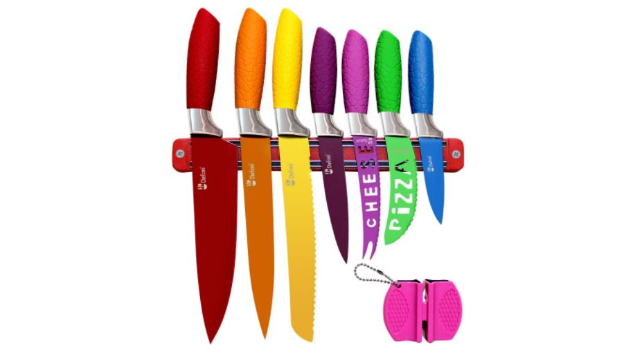 Kitchen Knife Set Plus Magnetic Strip and Sharpener by Chefcoo All-in-One Cutlery Knives - Best Color Cooking Gadgets - Includes Cheese, Pizza, Paring, Utility, Slicer, Bread and Chef Knives available on Amazon click here