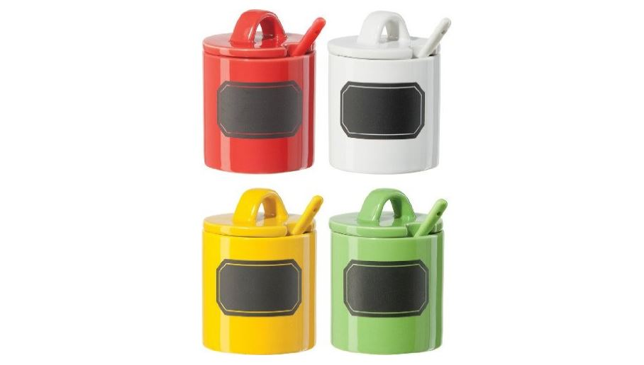 Oggi 4 piece airtight acrylic food storage with chalk board available on Amazon click here kitchen gadgets on Amazon