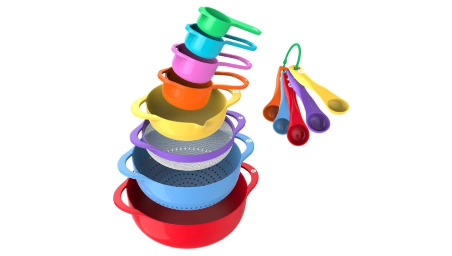 Vremi mixing bowl set with spoons strainer and collander available on Amazon click here