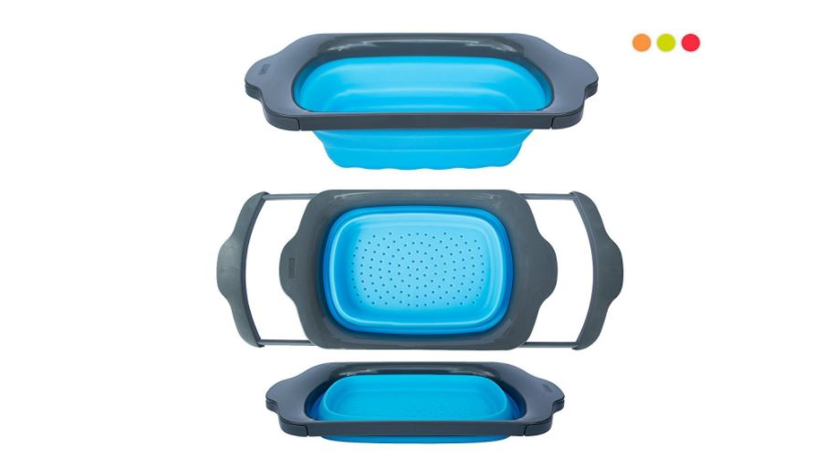 foldable over sink silicone pasta strainer available on Amazon click here