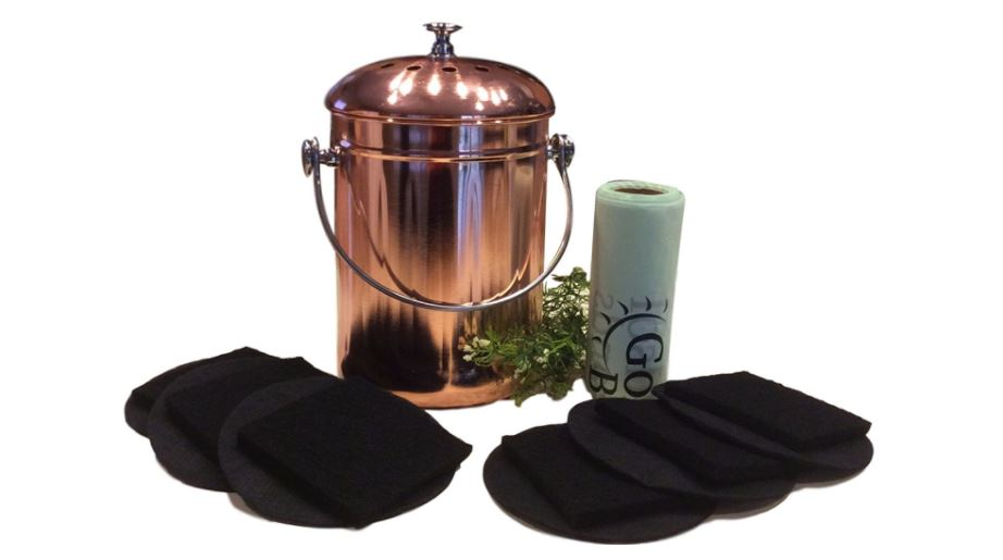 Kitchen Compost Pail Bin for Countertop, Leakproof Food Scrap Container, Stainless Steel with Copper Plating, 1 Gallon, Comes with Bonus 1 Year's Worth of Dual Charcoal Filters and Compost Pail Bags available on Amazon click here