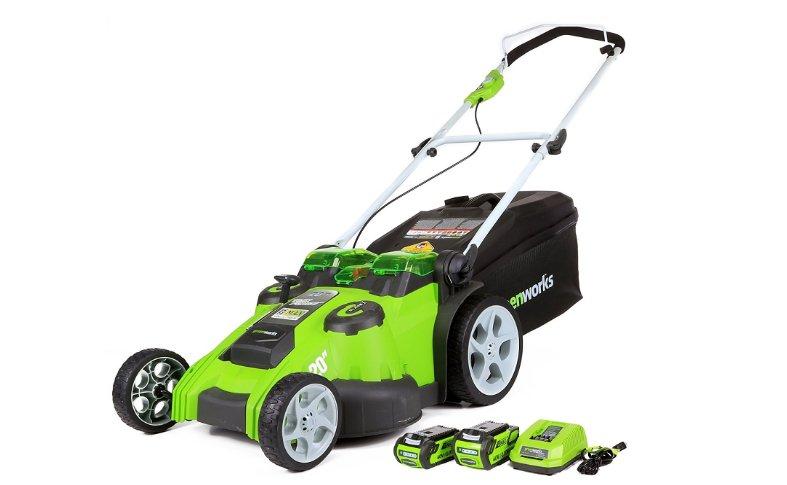 Greenworks 20 inch cordless lawnmower.