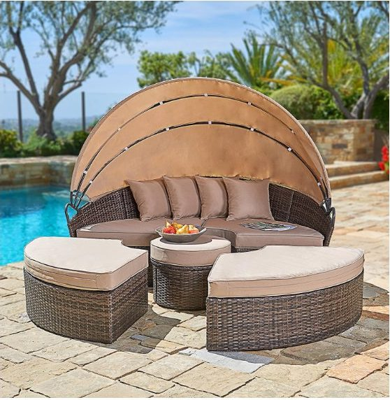 27. Suncrown Wicker Daybed with Retractable Canopy