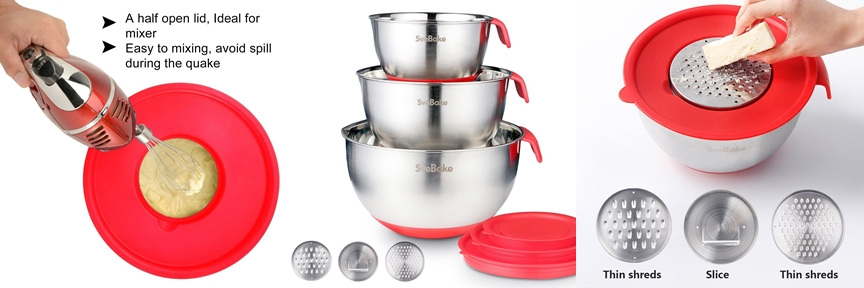 SveBake Mixing Bowls - Stainless Steel Mixing Bowl Set with Handles, Pour Spouts, Non-Slip Base and Graters, Set of 3, Red available on Amazon click here