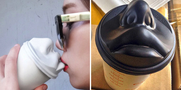 Human Face Coffee Lid Lets You Literally Kiss Your Morning Coffee