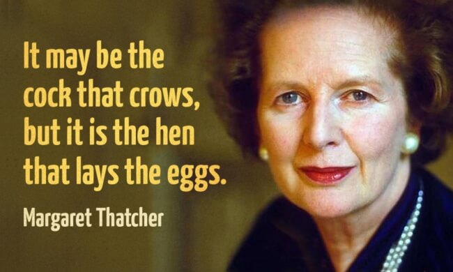 Thatcher cock crows at dawn but hen lays egg