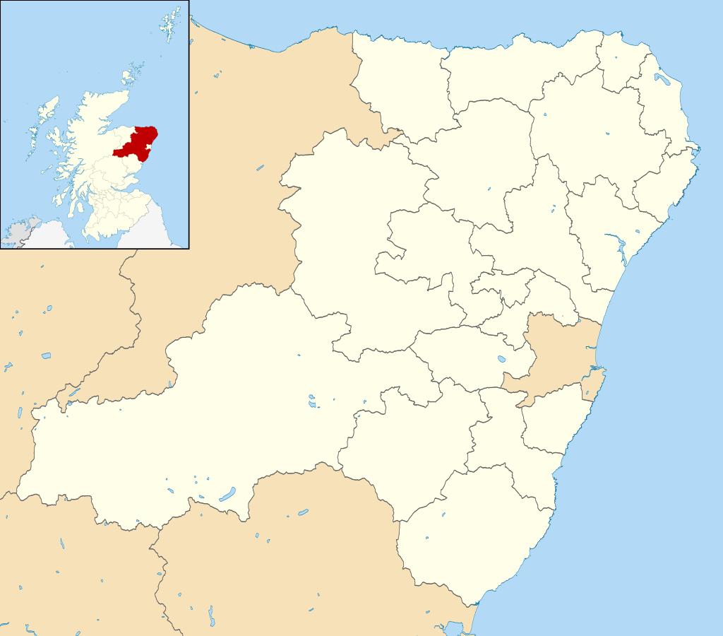 Clashindarroch Forest shown in red on a detail and outlined on a map