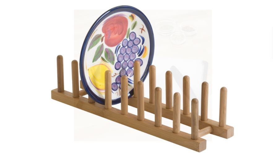 "Lipper International 887 Bamboo Wood Plate Rack and Pot Lid Holder, 15-1/4"" x 4-3/8"" x 4"""