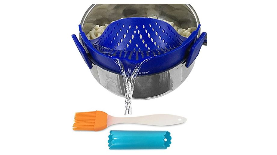 Clip-on kitchen food strainer for spaghetti, pasta, and ground beef grease available on Amazon click here