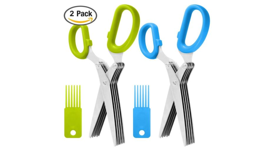 2 Packs Stainless Steel Herb Scissors, SourceTon Multi-purpose Kitchen Shear with 5 Blades and Cleaning Brush, Ergonomic Design Heavy Duty Durable Culinary Cutter with Sharp Blade available on Amazon click here