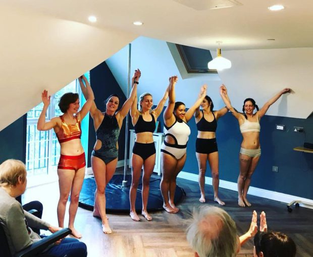 pole dancers performing at Encore Care Homes for elderly residents